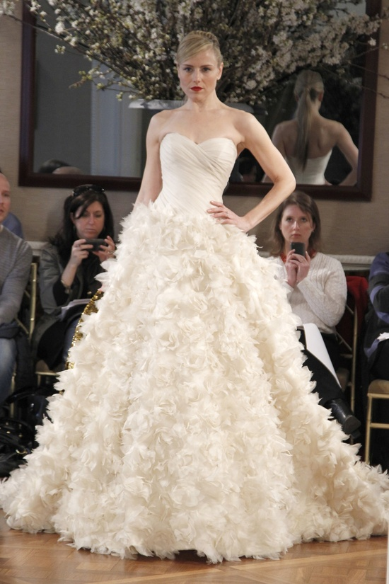 Romona Keveza ballgown wedding dress with embellished skirt