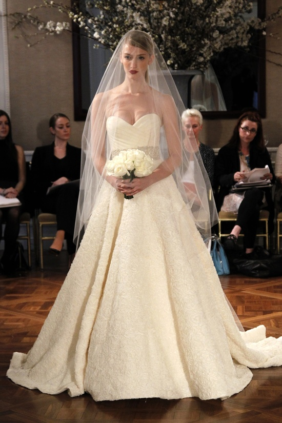 Romantic Romona Keveza Fall 2011 wedding dress with crystal bridal belt