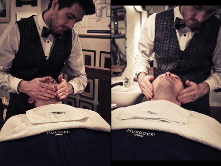 Hire an old school barber to give shaves and cuts to groom and groomsmen