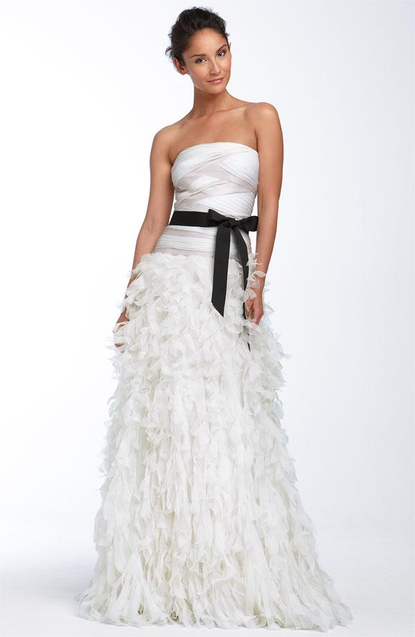 Glam strapless a line tadashi shoji wedding dress with for Tadashi shoji wedding dresses