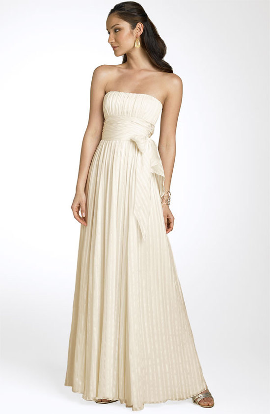 Simple strapless silk a-line wedding dress