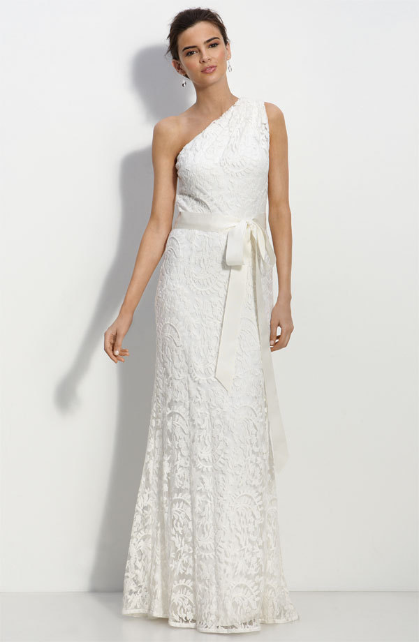 Romantic one shoulder lace wedding dress junglespirit Gallery