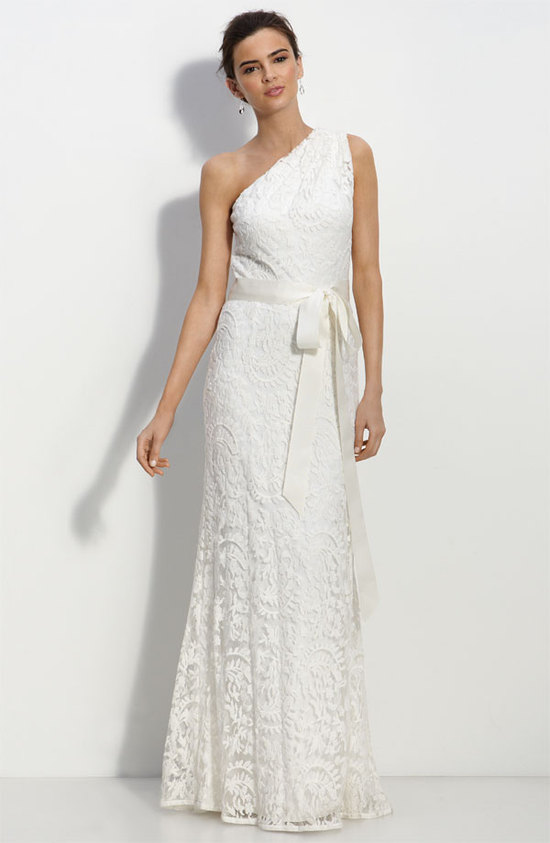 photo of Tadashi Shoji one-shoulder lace wedding dress, $388