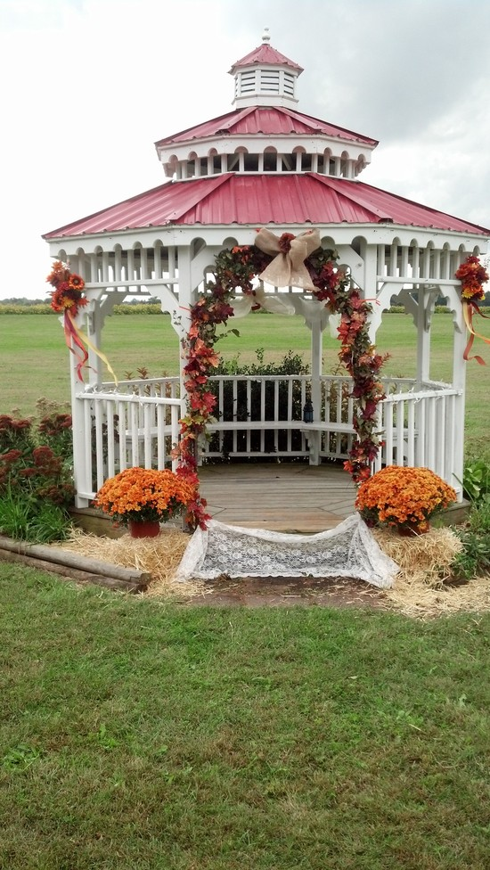 rustic fall gazebo wedding ceremony