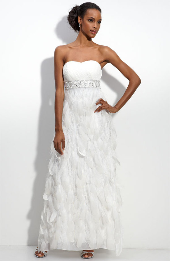 photo of Sue Wong feather trim wedding dress, $658