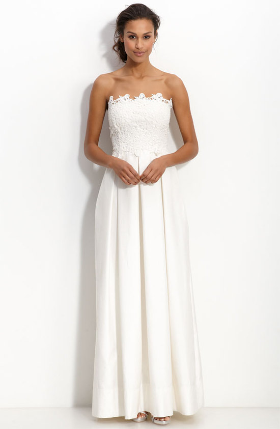 photo of  Eliza J strapless shantung wedding dress, $218