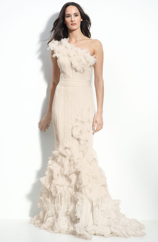 photo of Tadashi Shoji chiffon applique wedding dress, $798