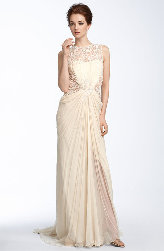 photo of Tadashi Shoji lace and chiffon wedding dress, $548