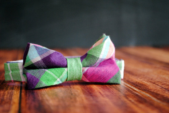 bright plaid bow tie for grooms
