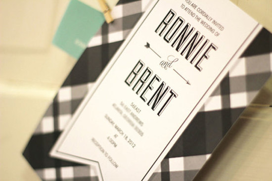 modern plaid wedding invitation
