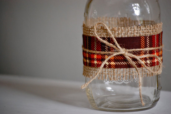 plaid and burlap wrapped wedding mason jars