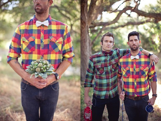 same sex wedding with grooms in plaid