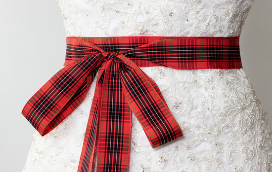 red and black plaid wedding sash