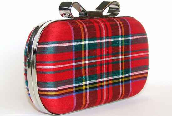 plaid bridal clutch with silver hardware