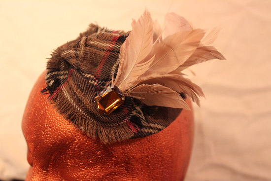 plaid wedding hat with blush feather