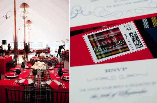 Plaid wedding reception table and stationery