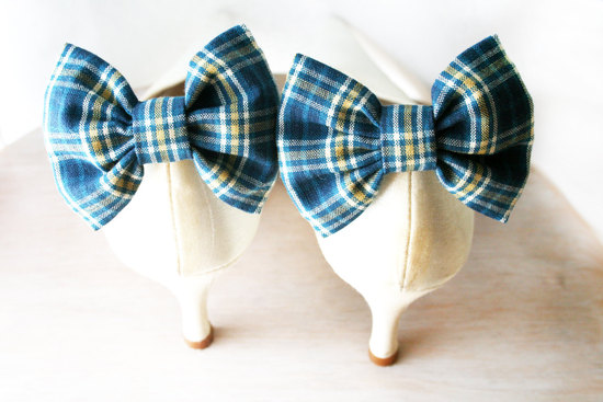blue plaid wedding shoe clips