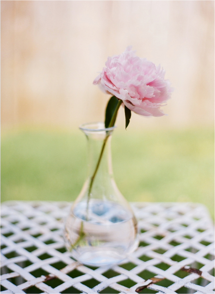 Simple single peony wedding reception centerpiece onewed