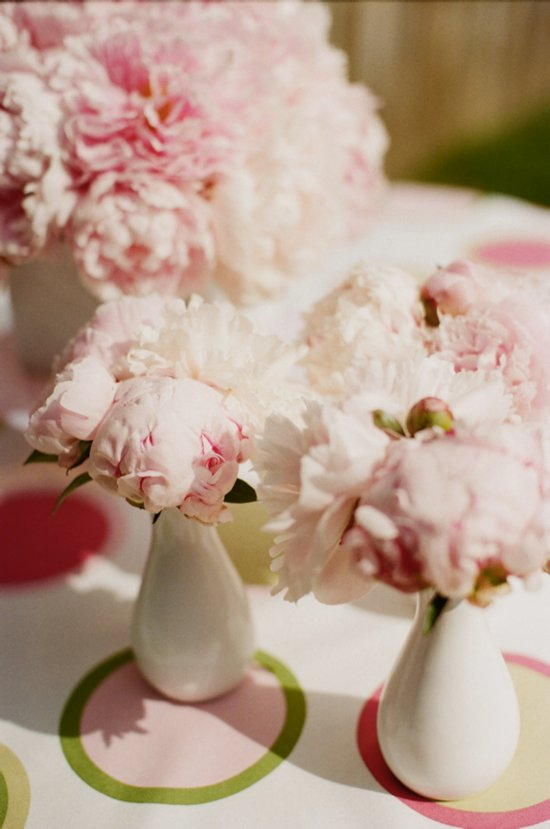 Romantic peony wedding flower centerpieces