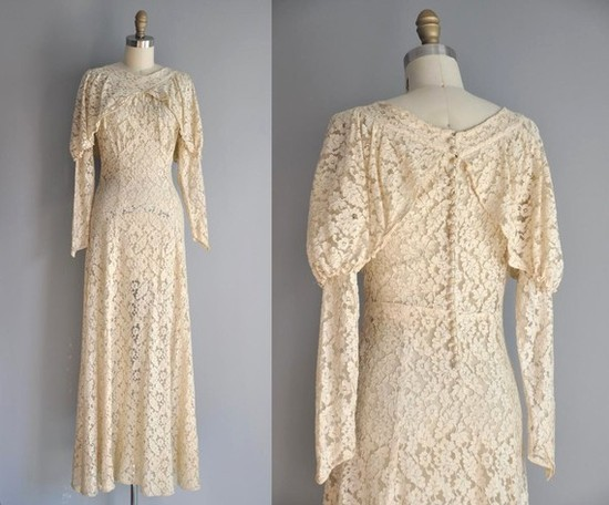 Vintage lace wedding dress with long poet sleeves