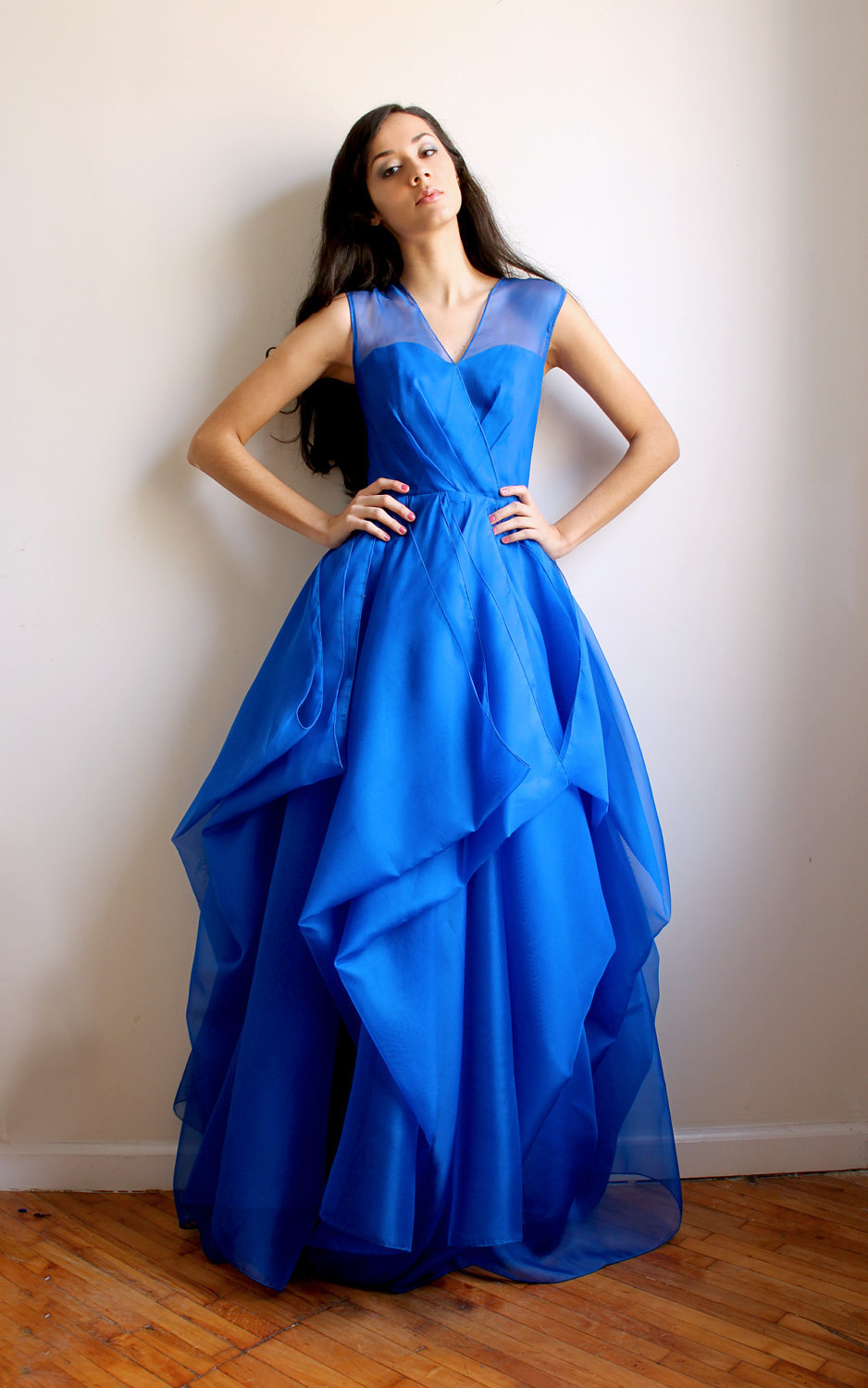 Royal-blue-bridesmaid-dress-with-illusion-neckline.full