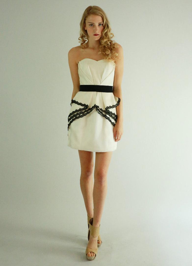 Cream and black short bridesmaid dress