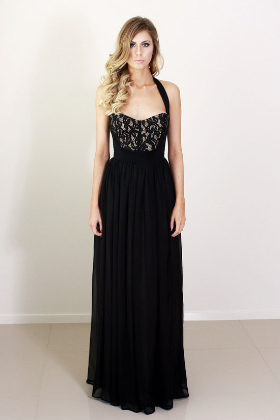 black halter long bridesmaid dress