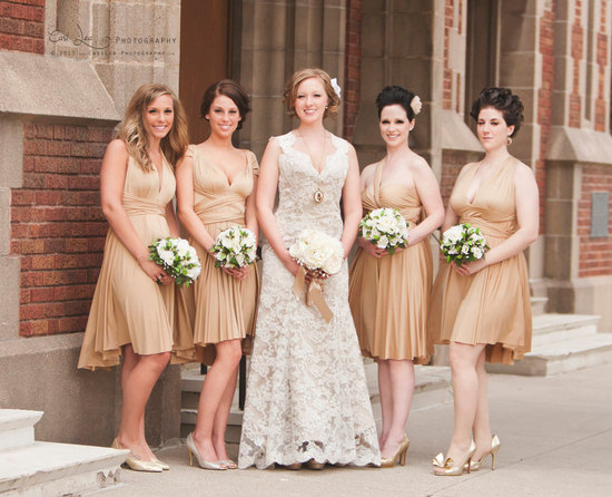 Champagne convertible bridesmaid dresses