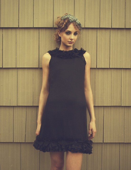 black bridesmaid dress with ruffled hem and neckline