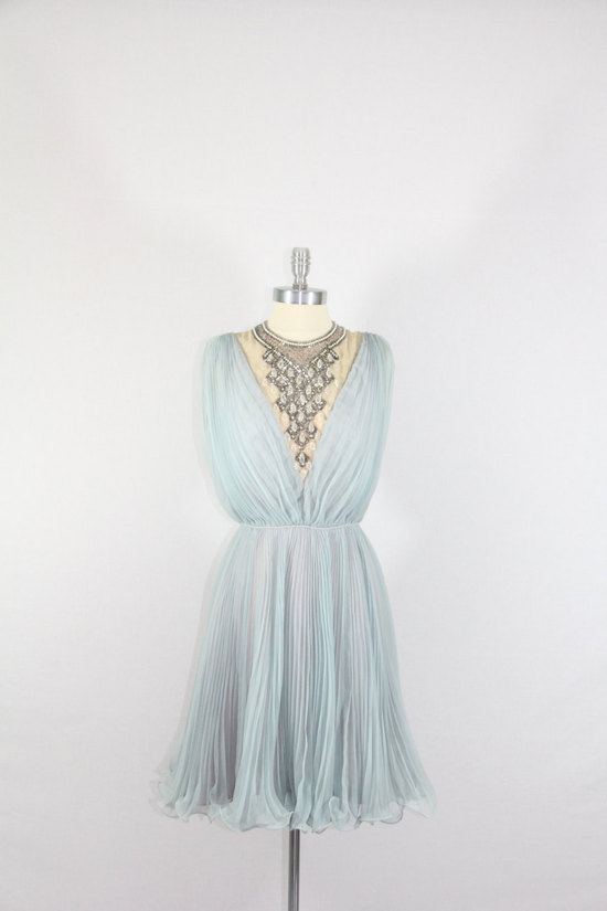 pale blue vintage bridesmaid dress