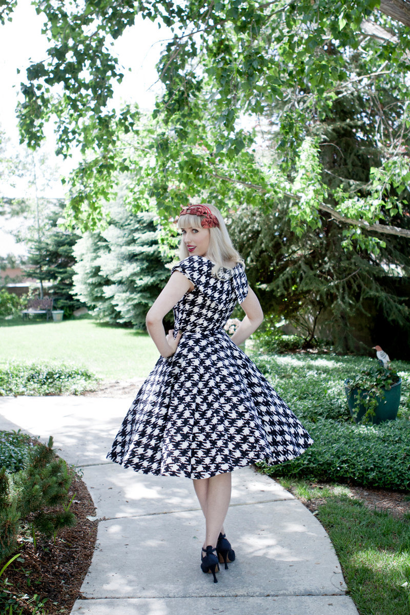 Retro Houndstooth Bridesmaid Dress