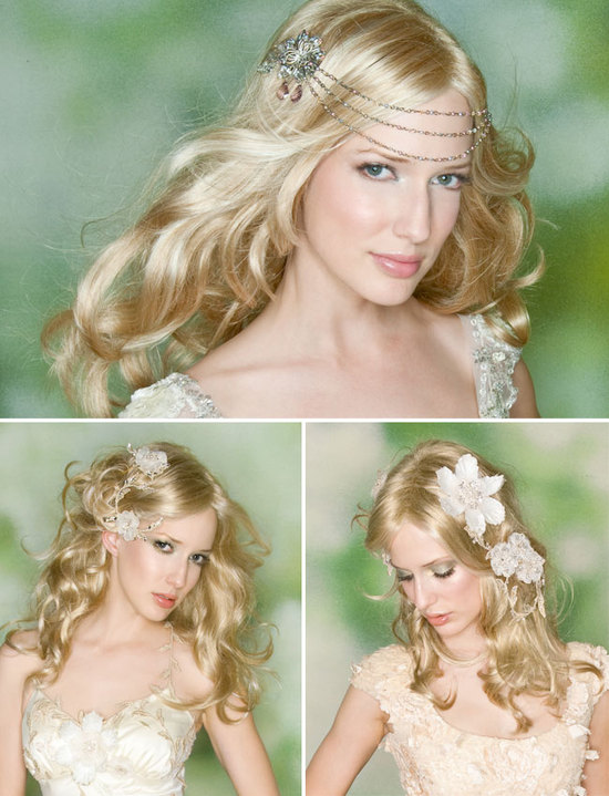 Bohemian chic wedding hairstyles and Claire Pettibone accessories