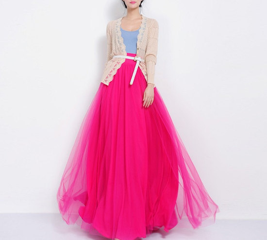 hot pink tulle skirt for bridesmaids