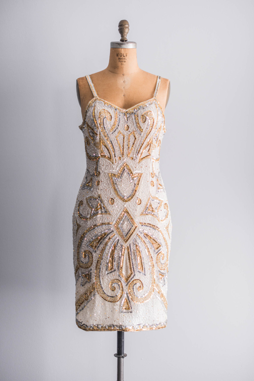 vintage gold beaded bridesmaid dress onewed