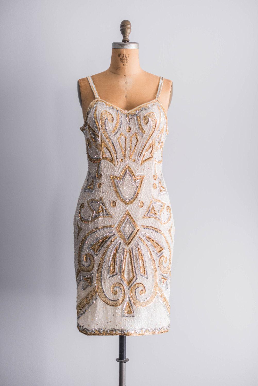 Vintage gold beaded bridesmaid dress for Gold vintage wedding dresses