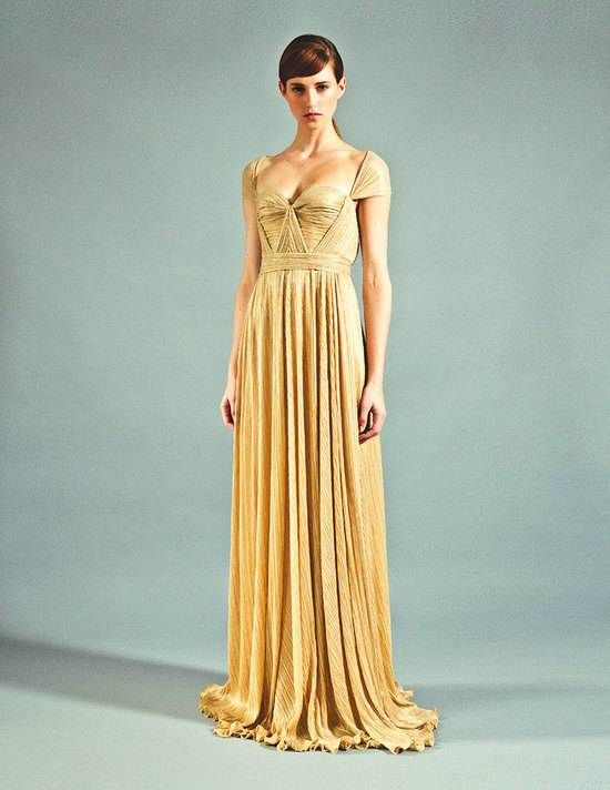 golden beauty draped bridesmaid dress