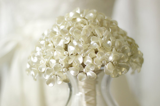 pearl beaded flowers wedding bouquet