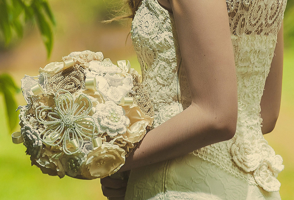 Crochet Lace And Bauble Wedding Bouquet
