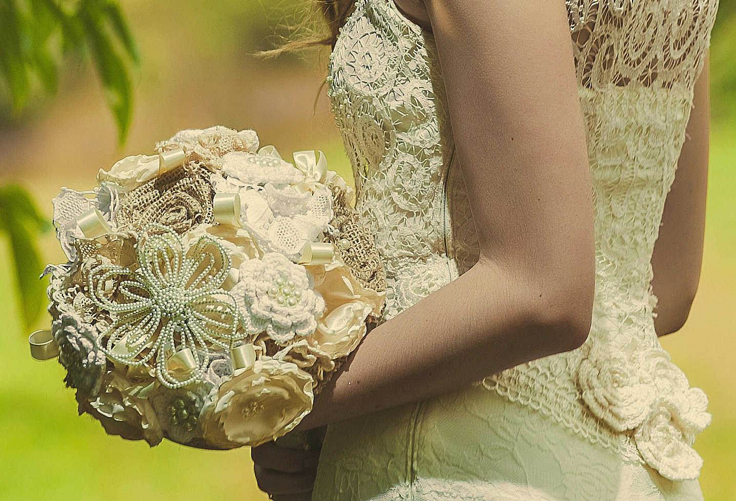 Crochet Flower Bouquet Patterns : crochet lace and bauble wedding bouquet OneWed.com