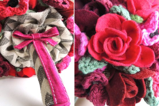Crochet and felt red and pink wedding bouquet
