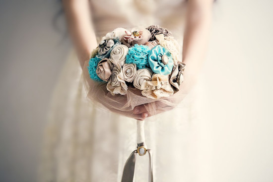 fabric and lace wedding bouquet in taupe cream and aqua