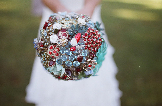 vintage custom brooch bouquet in red aqua silver