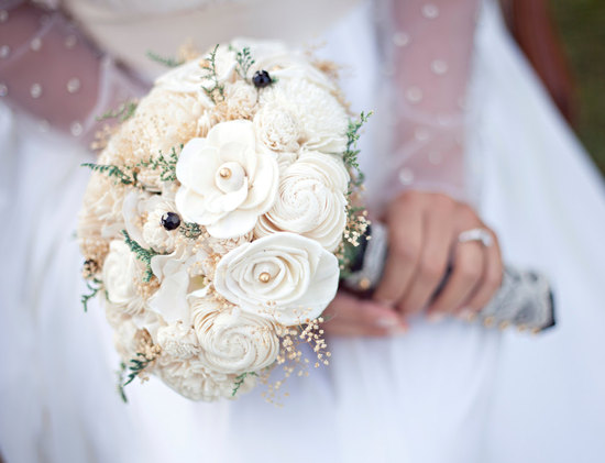 Ivory sola flowers wedding bouquet