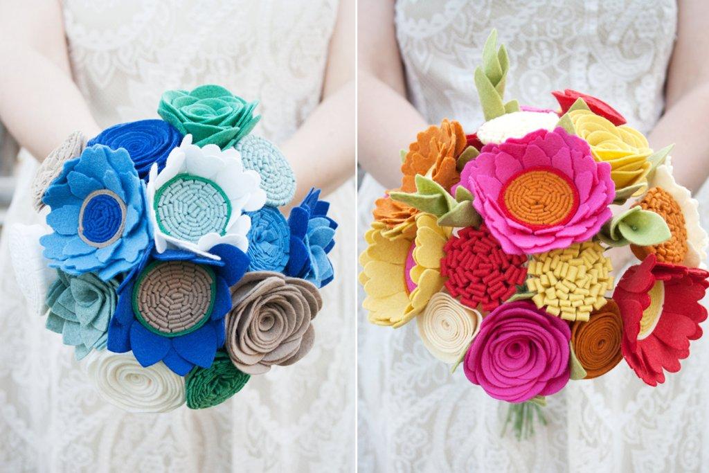 Bright felt bridal bouquets