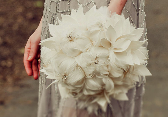 ivory feather elegant bridal bouquet