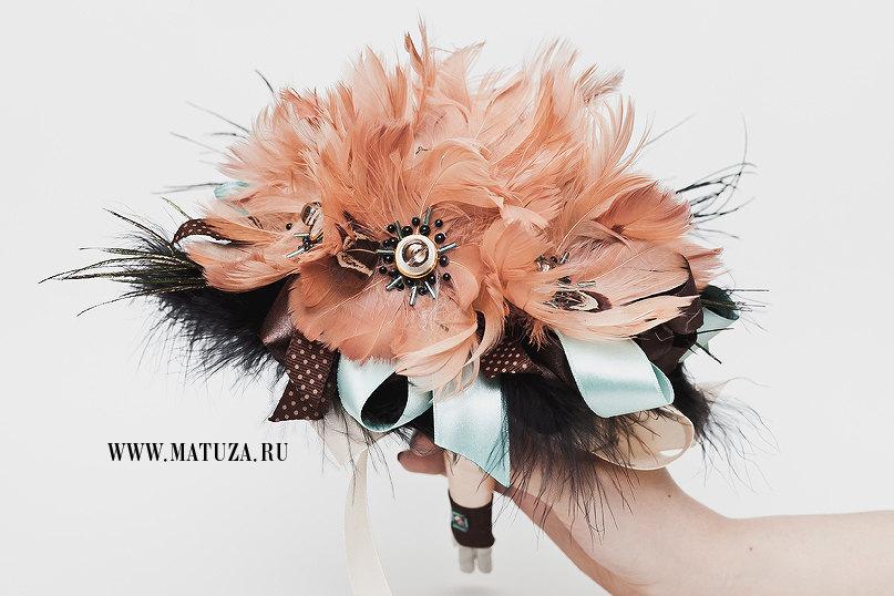 Peach-black-and-aqua-feather-wedding-bouquet.full