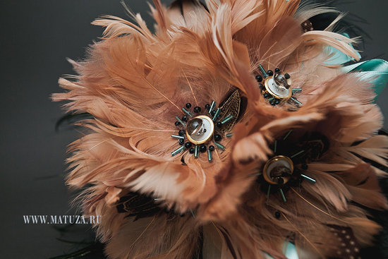 peach black and aqua feather wedding bouquet