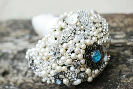 vintage pearl and crystal wedding bouquet with something blue