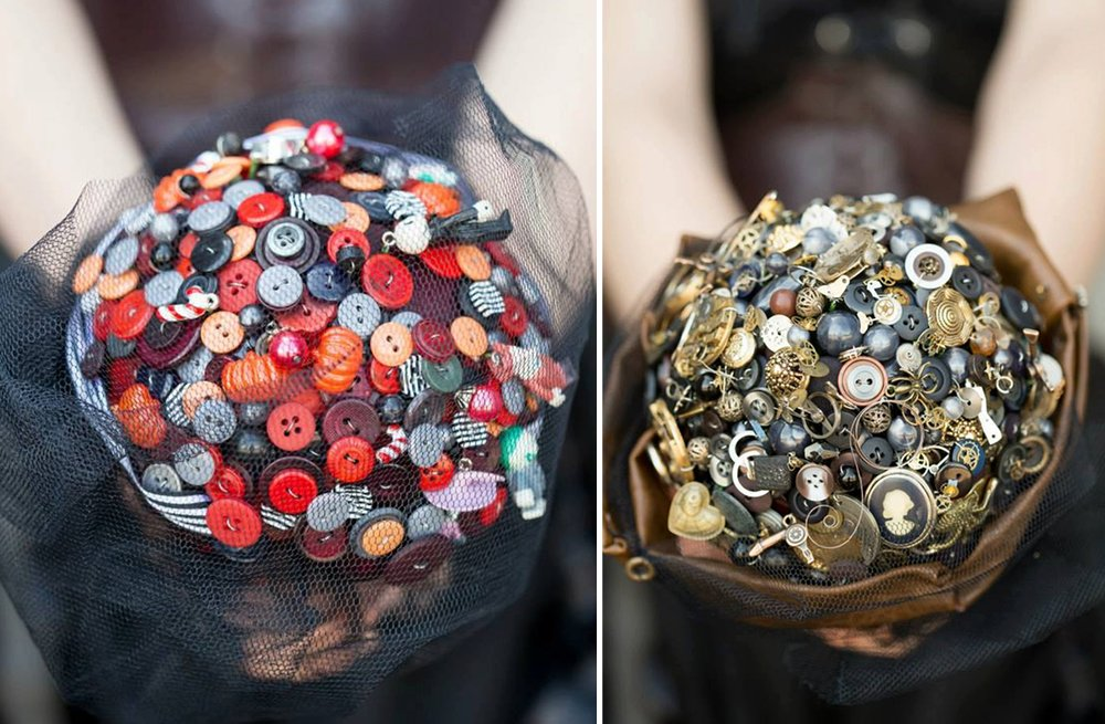 vintage goth wedding bouquets of buttons