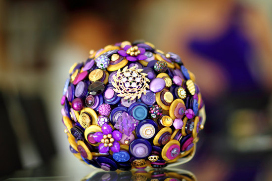 gold and purple button bouquet